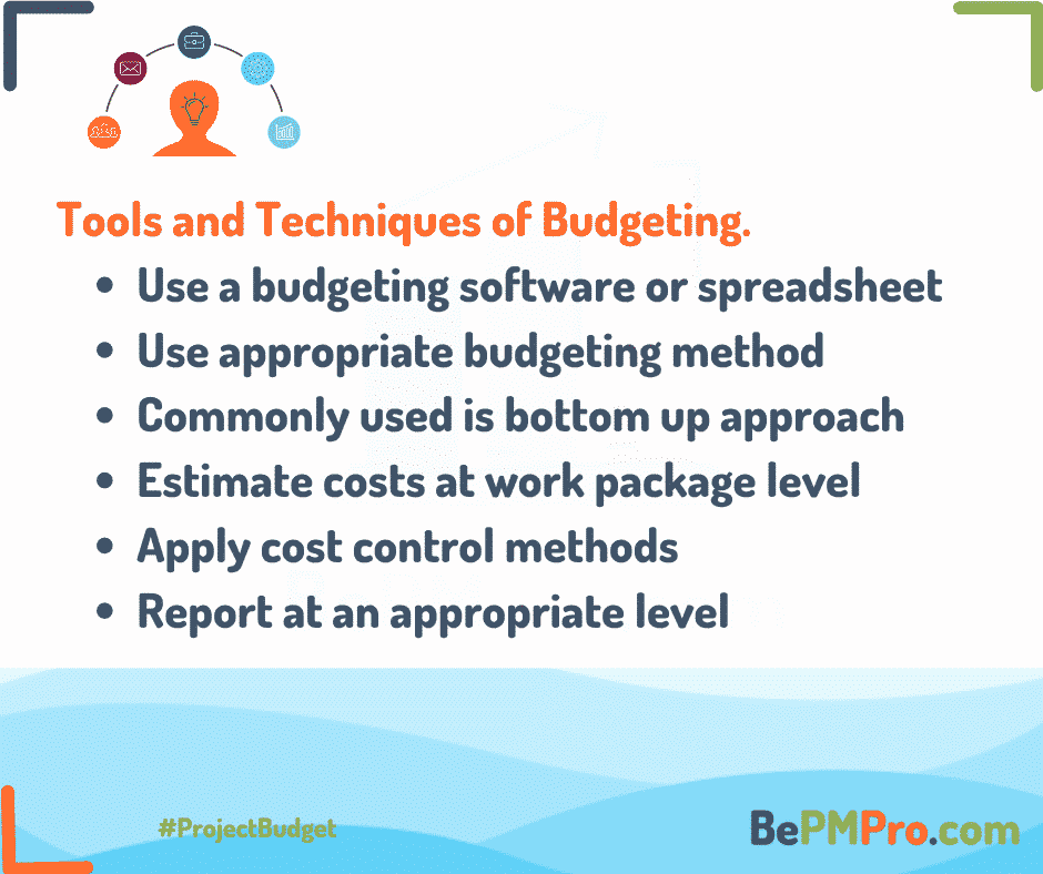 Budgeting can be done using a budgeting software or spreadsheet, appropriate budgeting method should be used, and estimates should be done at lower level and summed up – 4GimTWu89W5ZsoiXTffE